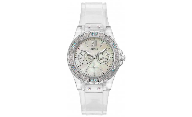 Guess Ladies Limelight Clear Stainless Steel Watch
