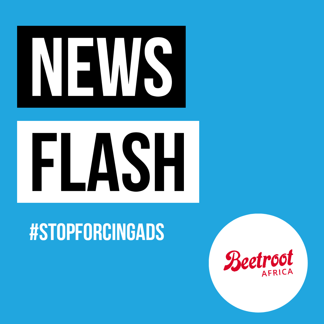 News Flash - Beetroot.today - #StopForcingAds